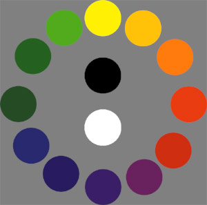 Color Wheel with Black and White