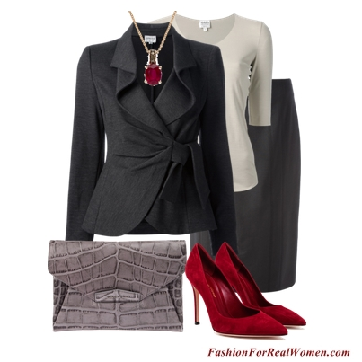 Gray suit with red accessories