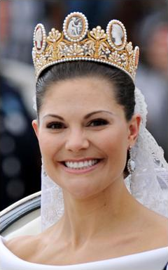 Crown Princess Victoria of Sweden wears the Cameo Tiara