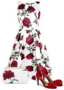 Rose print dress for wedding
