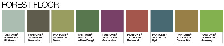 Pantone's Forest Floor Combinations