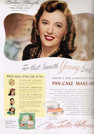 Barbara Stanwyck in Max Factor Ad 1947