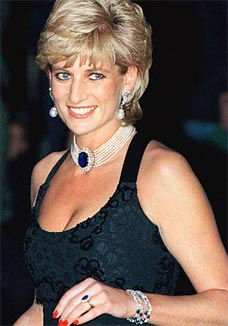 Diana wearing pearls and sapphires