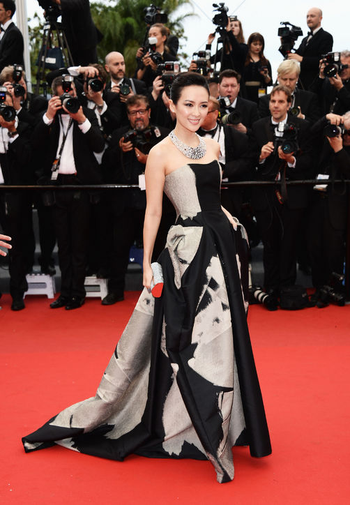 Zhang Ziyi at Cannes in Carolina Herrera