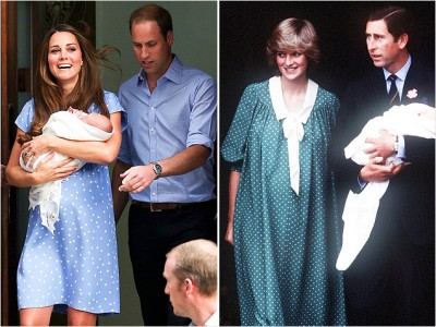 The Duchess of Cambridge and the Princess of Wales after giving birth to their first child