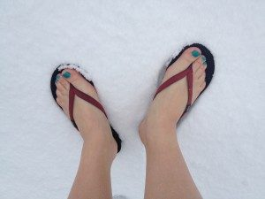 Flip flops in the snow